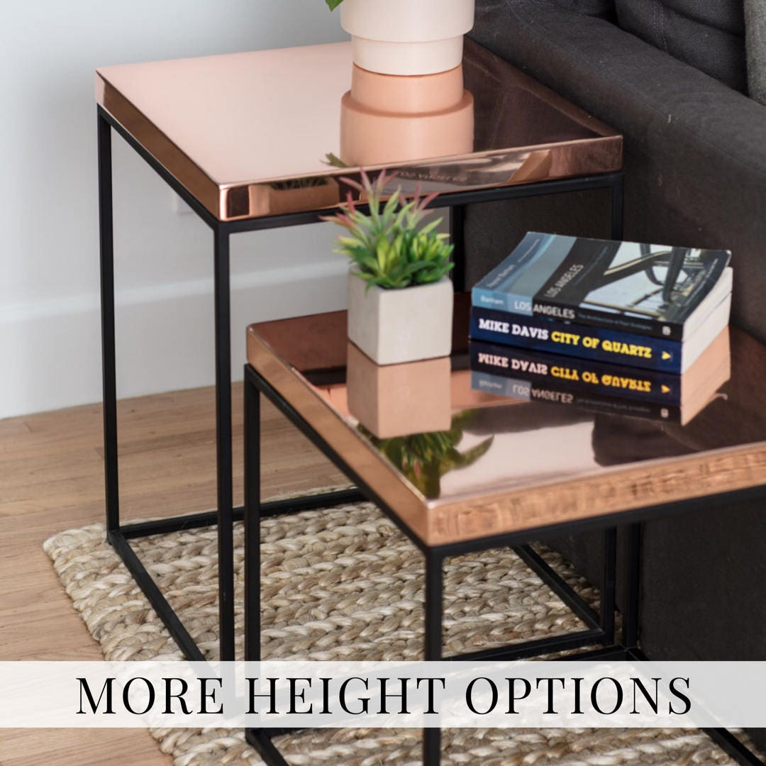 Copper End Table For Loft Modern Side Table Midcentury Nightstand Rose Gold  Table For Corner Tables