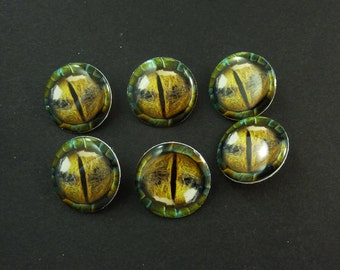 "6 Lizard Eye Sewing Buttons.  Handmade By Me.  Shank Buttons. 3/4"" or 20 mm round.  Washer and Dryer Safe."