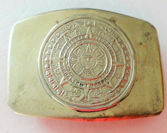 Alpaca Mayan Calendar Vintage Mens Belt Buckle Collectible Father's Day