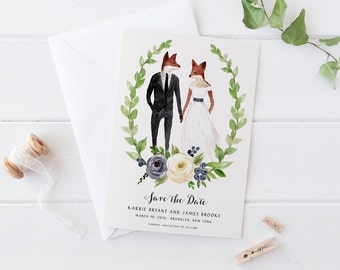 Woodland Save the Date Card,Printable Portrait Bohemian Pink Navy Watercolor STD,Floral Green Leaves,Hipster Invite,Fox Deer Doe Stag Animal