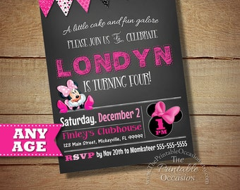 Minnie Mouse Birthday Invitation, Minnie Printable Birthday Invitation, First Birthday Invitations, Pink DIY Minnie Mouse
