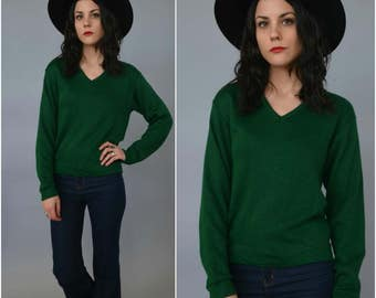 1980s forest green pullover sweater