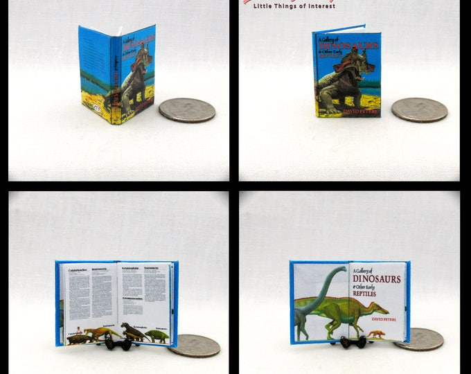 A GALLERY OF DINOSAURS Illustrated Dollhouse Miniature Book 1:12 Scale Book Early Prehistoric Reptiles
