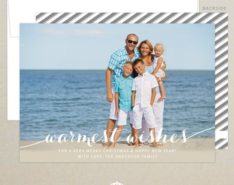 FREE SHIPPING!  Warm Wishes Holiday Photo Card - Family Photo Card - Custom Christmas Card - Personalized - Photo Christmas Card