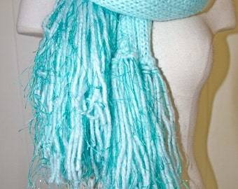 Knit  Scarf * Super long and Very Warm *=* OOAK * Scarf With Long Fringe * Gift For Her * Long Crochet Scarf * Sea Foam Scarf