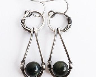 Blue Tigers Eye Earrings, Bohemian Jewelry