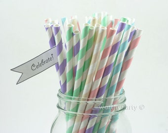 PASTEL Spring Easter Cotton Candy Mix Stripes Paper Straws ( 5 assorted colors ) with FREE Printable DIY Flags (25 count)