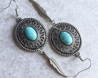 Turquoise Dreamcatcher x Feather Earrings - Silver Charms/Hoops, French Hooks, Howlite Cabochons, Bohemian, Gypsy, Hippie, Boho Chic Jewelry