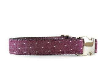 Burgundy Swiss Dots Collar - Red Wine Marsala White Swiss Dot Denim Metal Buckle Dog Collar