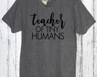 Teacher Of Tiny Humans Crew Neck Shirt, Teacher, Teachers gift, Elementary school, Primary school, Teachers Aid, Grade school, Preschool