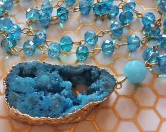 Blue Lagoon, Long Blue Necklace, Long Beaded Necklace, Rosary Style, Long Druzy Necklace, Blue Necklace, Crystal Necklace, Blue Druzy