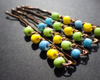 Beach Hair, Don't Care- Summer Beachwear- Blue Green Yellow- Set of 4- Wire Wrapped Beaded Bobby Pins- Hair Style Accessory- Unique Gifts