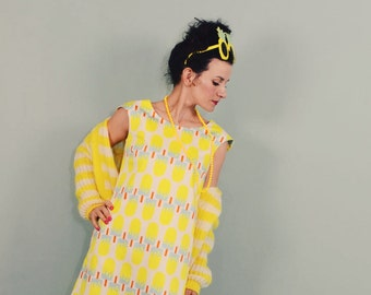 A-line dress ICE BABY yellow pool retro dress