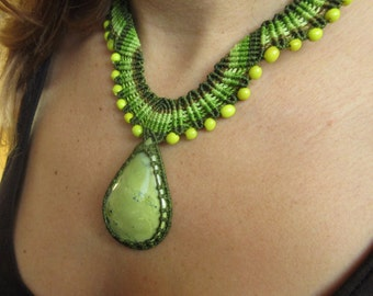 Serpentine Green Macrame Necklace handmade with natural serpentine gemstone cabochon and seeds beads