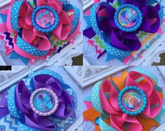 TROLLS Hair bow - YOU PICK - Trolls Party - Girls Birthday Bow - Purple Bow - Polka dot bow - Trolls movie Bow - Poppy bow - Trolls outfit