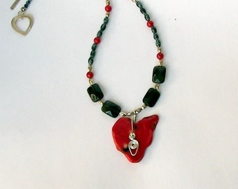 Necklace with Red Stone and Silver