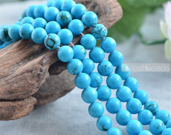 Natural Blue Turquoise Beads 6mm 8mm 10mm Smooth Polished Round 15 Inch Strand TQ05 Wholesale Beads