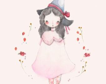 Garden Witch. Graphite pink witch girl illustration, 8 x 10 inch print.