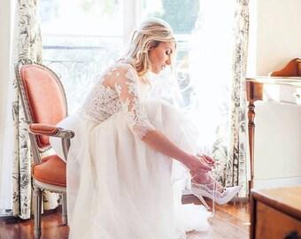 Ivory beaded illusion wedding dress, beaded lace wedding gown, lace and tulle wedding gown, destination wedding dress, sleeve wedding dress