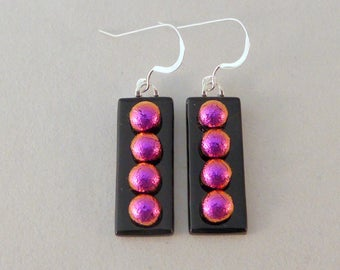 Pink and Black Dichroic Fused Glass Dangle Earrings, Dichroic, Fused Glass Earrings, Fused Glass, Dangle, Pink Earrings, Pink, Black