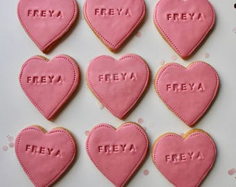 personalised heart biscuits, heart wedding biscuits, pink gifts, hen party gifts, loveheart biscuit, heart cookie, loveheart cookie