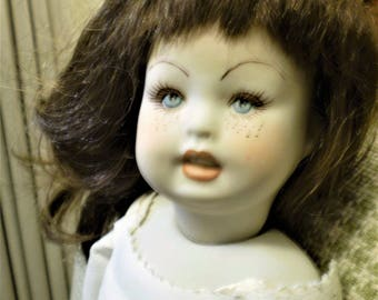 """Vintage BISQUE PORCELAIN DOLL 15"""" w/Faux? Leather Hinged Body Artist Beautiful Bru Face w/Freckles Bisque Arms Well Made Antique Style"""