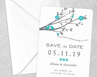 Songbird - Card - Save the Date - Includes Back Side Printing + Envelope