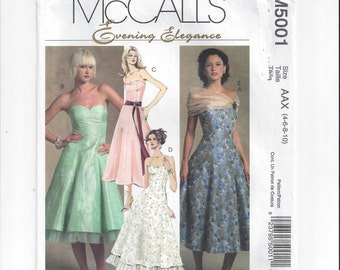 McCall's 5001 Pattern for Misses' Evening Elegance Dress, Sizes 4 to 10, Brides Maid, Party, Prom, Evening Dress, Home Sewing Pattern, 2005