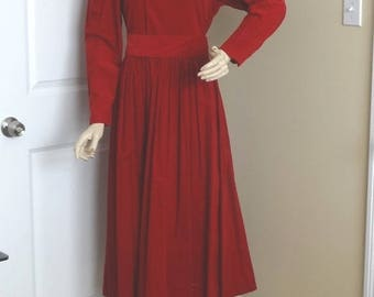 1993 Vintage Laura Ashley Red Corduory Dress, Belt & Size 8, UK Size 12, Like New, Vintage Dress, Made in Great Britain, Vintage Clothing