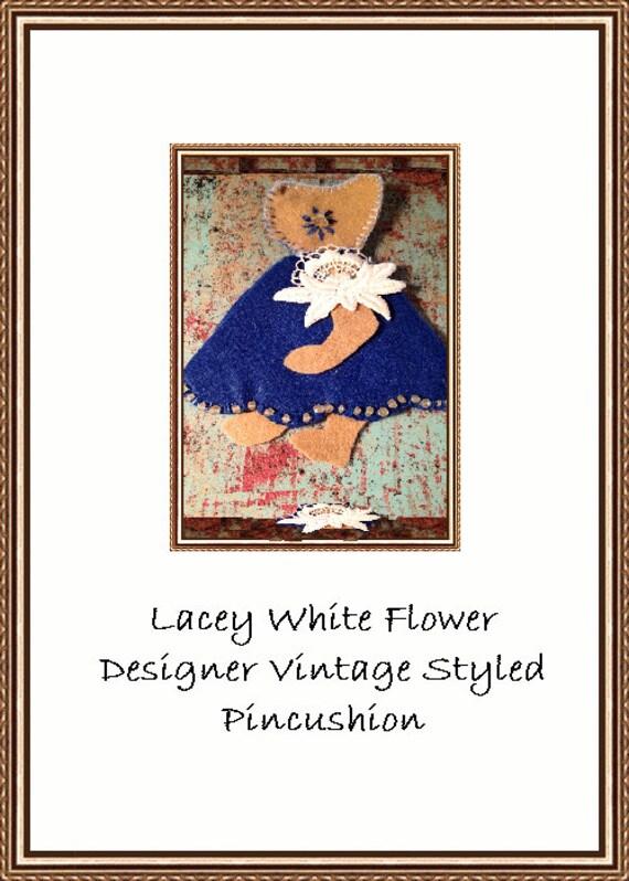 Lacey White Flower Barefoot Baby Designer Pincushion