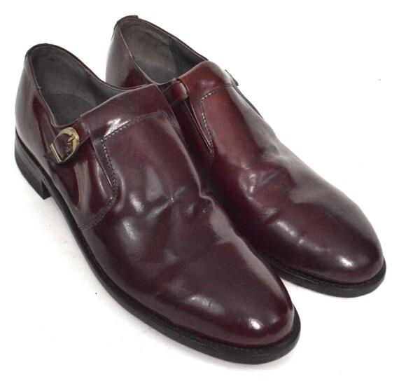Vintage 80s Titan Leather Single Monkstrap Dress Brown Shoes Sz 10