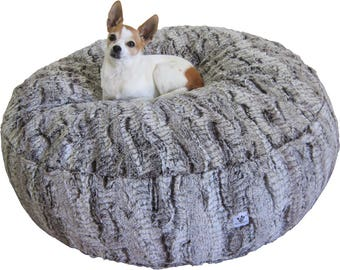 Luxury Dog Bed - Large Chocolate Swirl Faux Fur