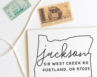 Oregon return address stamp, state, self inking stamp or rubber stamp wood handle