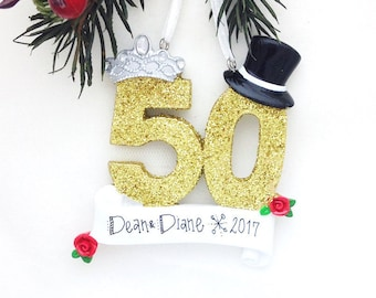 FREE SHIPPING 50th Anniversary Personalized Christmas Ornament / Couple Ornament  / Golden Anniversary Ornament