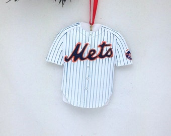 FREE SHIPPING Personalized New York Mets Christmas Ornament / Mets Jersey Ornament / Mets Baseball Jersey Ornament / Baseball Ornament
