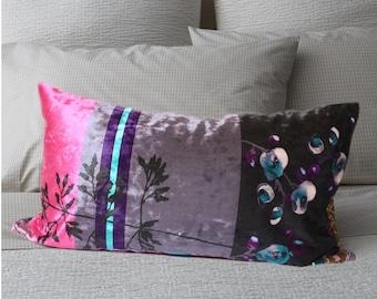 12x24 Fussia Purple Velvet lumbar pillow,multi color lumbar pillow cover ,non repeating pattern pillows, anna patchwork velvet pillow
