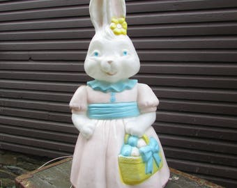 "25"" Girl Bunny Blow Mold. 1994  Carolina Enterprises. VINTAGE Lighted Bunny with Easter Basket. Yard Decoration."