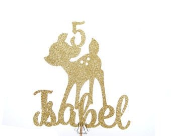 Custom Name Glitter Fawn Cake Topper - Girls Birthday Cake Topper, 1st Birthday, Cake Bunting, Birthday, Forest Party, Wild One Party
