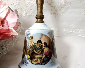 Vintage 1950s, Wooden Handle, Porcelain Bell with Rococo Scenes, Made in Japan