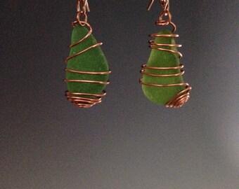 Sea Glass earrings ~ St. Patricks Day earrings ~ Holiday earrings - green earrings ~ beach earrings ~ copper wire wrapped earrings,Sea Green