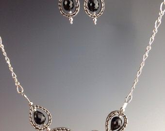 """Black Garnet Necklace - Art deco jewelry - Black Garnet jewelry - Holiday gift - Black necklace - black jewelry - unique necklace - """"Ashes"""""""