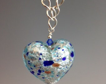 Venetian glass necklace, Murano glass necklace, Glass Heart pendant, Easter Jewelry, long necklace, Sterling necklace, Speckled Heart