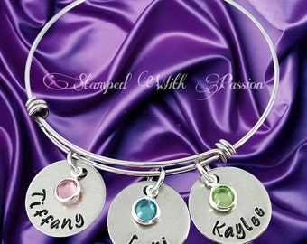 Mother's Bracelet, Custom Hand Stamped, Grandmother's Bracelet, Birthstone Bracelet, Bangle Bracelet, Mother, Mothers Gift, Grandmother Gift