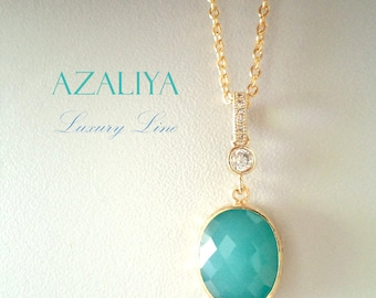 Pacific Blue Necklace Gold Vermeil Zirconia Bail. Azaliya Luxury Line. Bridesmaid Gift. Blue Birthstone Necklace. Mini CZ. Bridal. Gift