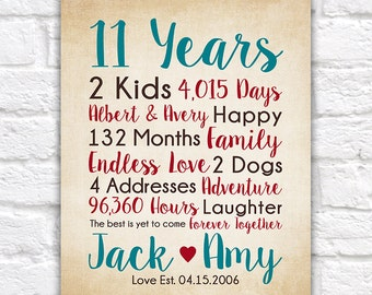 11th Anniversary Gifts, choose any year - Countdown Calculations, Childrens Names, Art, Years Together, Dating, Married, Spouse Gift | WF529