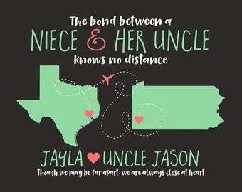 Gift for Uncle, Niece Quote Map, Long Distance Moving Away Gift, Gift for Uncles Birthday from Nieces, Nephew, Godfather, Brother | WF596