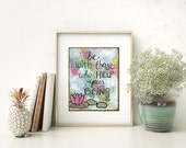 Be With Those - Art Print 8 x 10, Rumi, Happy Inspirational Word Art, Painting Quotes, Lotus Flower, Spiritual Family Yoga