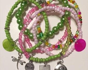 Bracelet Set - Pink & Lime Green