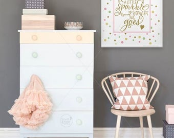 Leaves A Little Sparkle Everywhere She Goes ||kate spade quote, inspirational print, she leaves a little sparkle, nursery art, baby gift