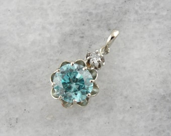 Buttercup Set Blue Zircon Pendant with Diamond Accent in White Gold 76HCHP-P